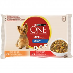 PURINA ONE Perro Adulto Pollo y Buey en salsa, comida húmeda para perros