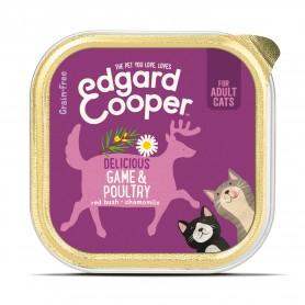 Edgard & Cooper, tarrinas sin cereales con aves y venado para gatos adultos