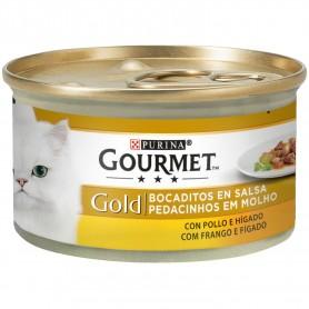 Tarrina comida húmeda Purina Gourmet Gold Bocaditos en Salsa con Pollo/Hígado