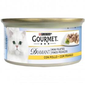 comida húmeda Purina Gourmet Diamant Finas lonchas con Pollo para tu gato