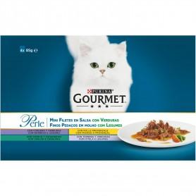 comida húmeda para gatos Purina Gourmet Perle Finas láminas con Legumbres con Cordero, con Pollo, con Conejo y con Ternera